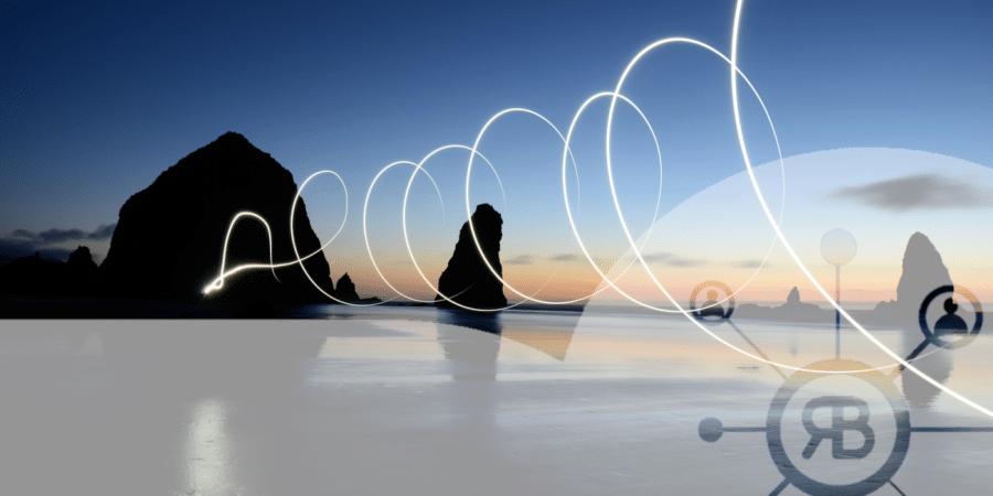 Ronds de lumière qui monte symbolisant Google Analytics avec logo Richard Bulan